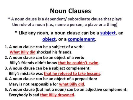 Noun Clauses A Noun Clause Is A Dependent Subordinate Clause That