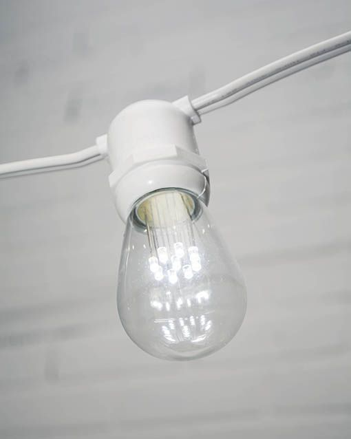 Commercial LED Edison String Lights, 48 Foot White Wire, S14 Bulb ...