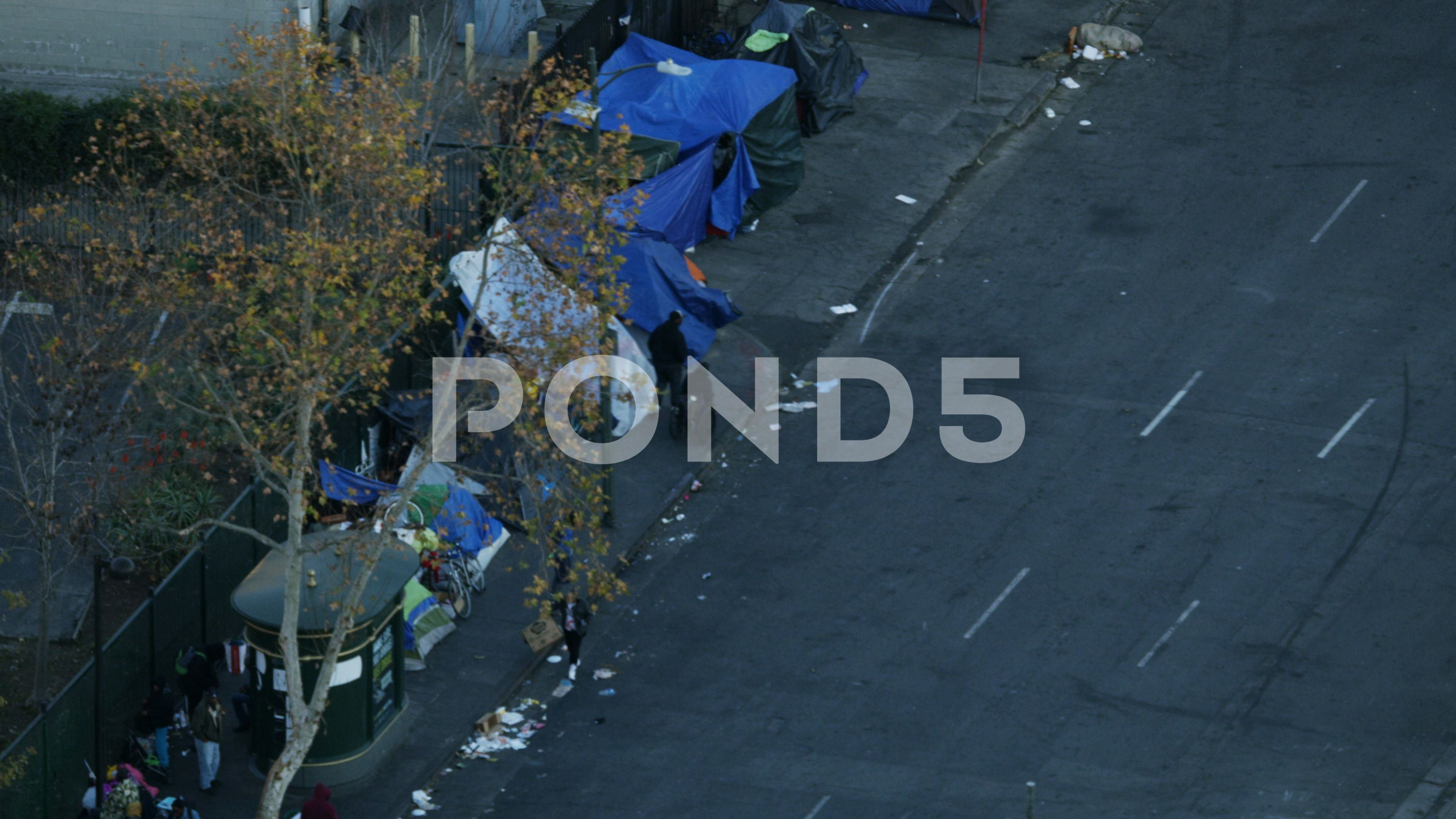 Aerial Skid Row Tent City Homeless People La Stock Footage Ad Tent City Row Aerial