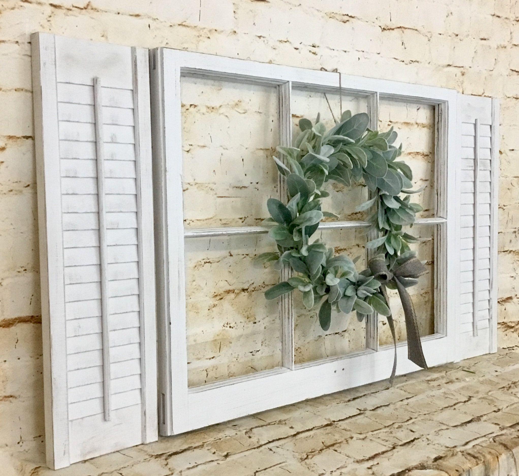 Farmhouse Window Frame With Shutters And Lamb S Ear Wreath Ear