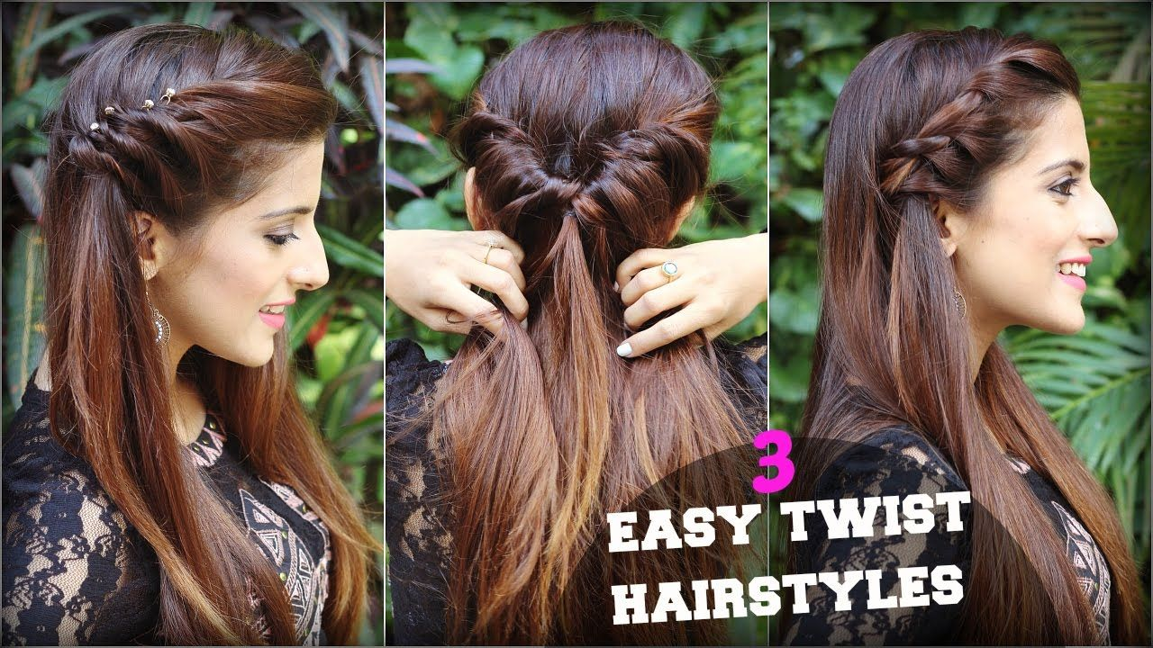 1 Min Cute Easy Everyday Twist Hairstyles For School College Work Quick Hair Tutorial Youtube Twist Hairstyles Hair Tutorial Quick Braided Hairstyles