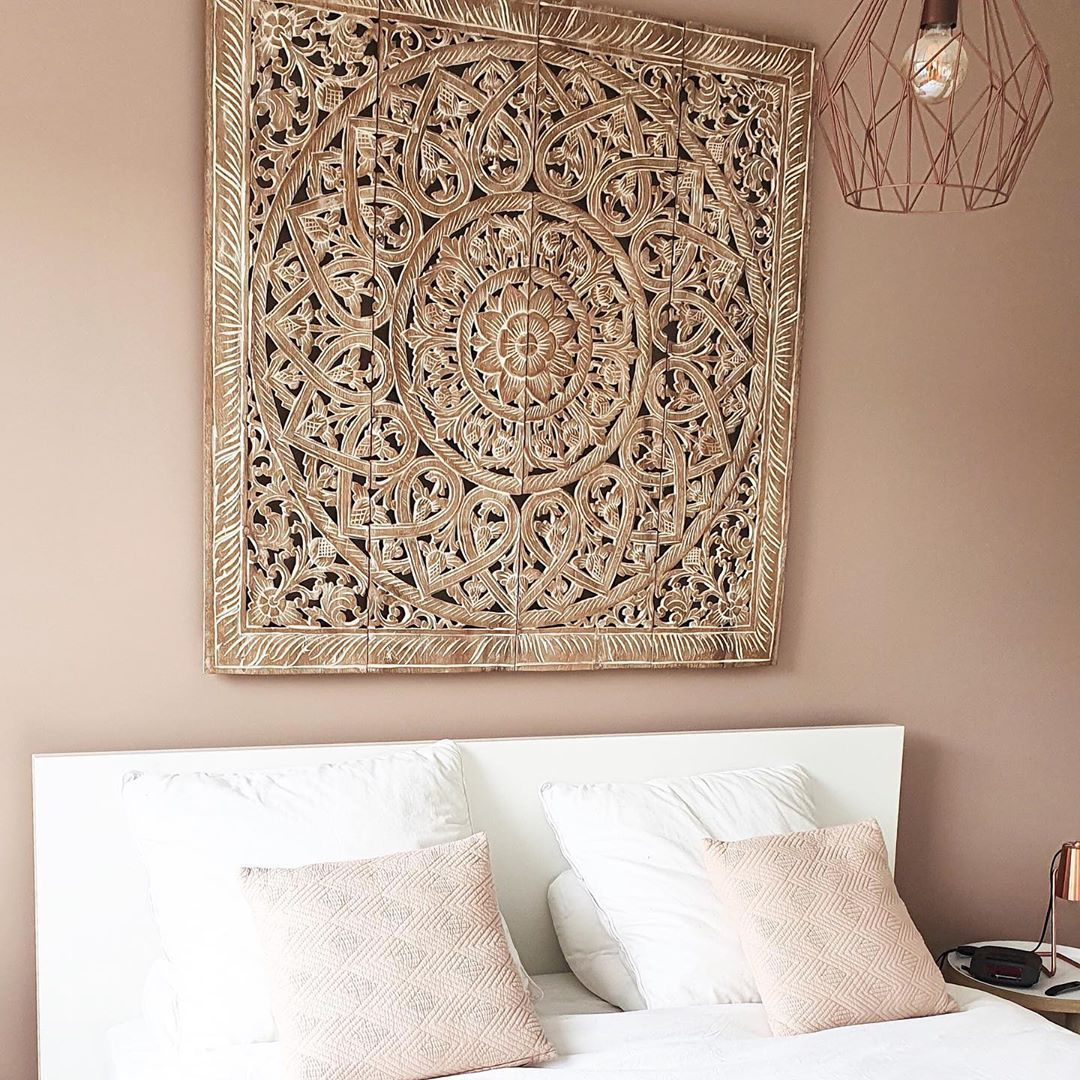 """simply pure interior boutique. on Instagram: """"Looking for an eyecatching masterpiece for above the bed? Then check out our beautiful collection of handcarved wall panels at www.simply-…"""""""