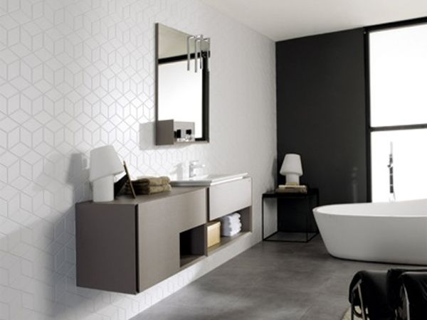 porcelanosa cube and diamond wall tiles couleurndu meuble bathroom pinterest materiaux. Black Bedroom Furniture Sets. Home Design Ideas