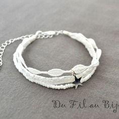 Bracelet trois tours en dentelle au fuseau avec petite étoile