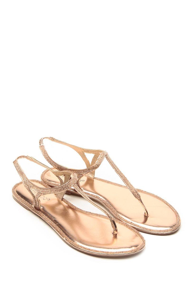 69ea2562d88 Bamboo Rhinstone Decour Rose Gold Sandals   Cicihot Sandals Shoes online  store sale Sandals