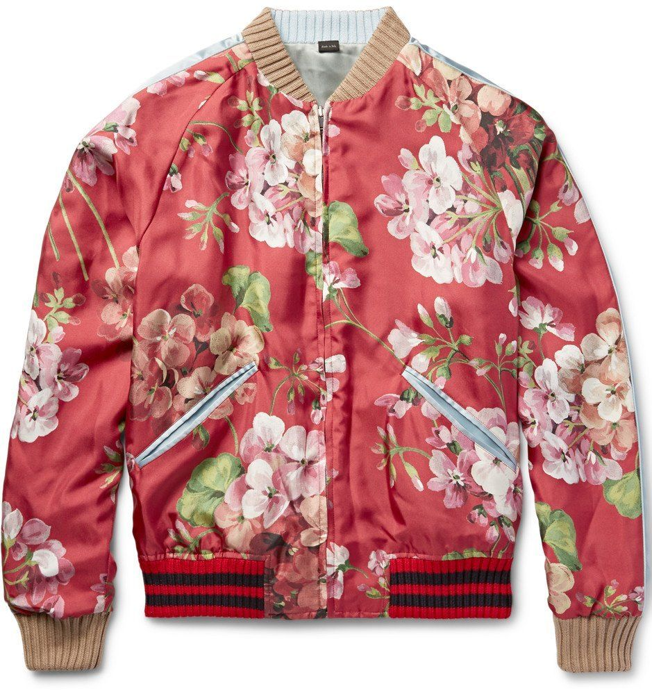 Gucci Reversible Silk Twill Bomber,