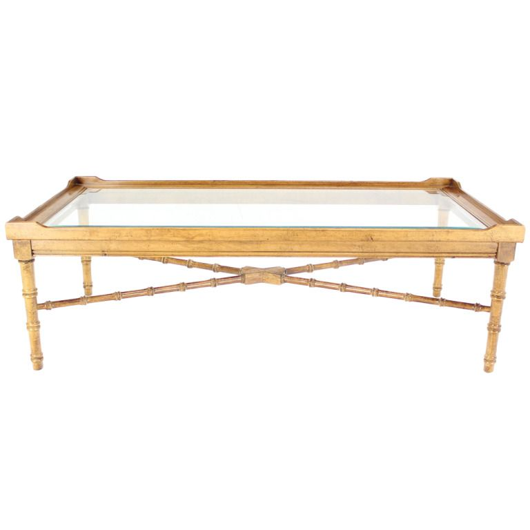 Mid Century Modern Faux Bamboo Glass Top Coffee Table From A