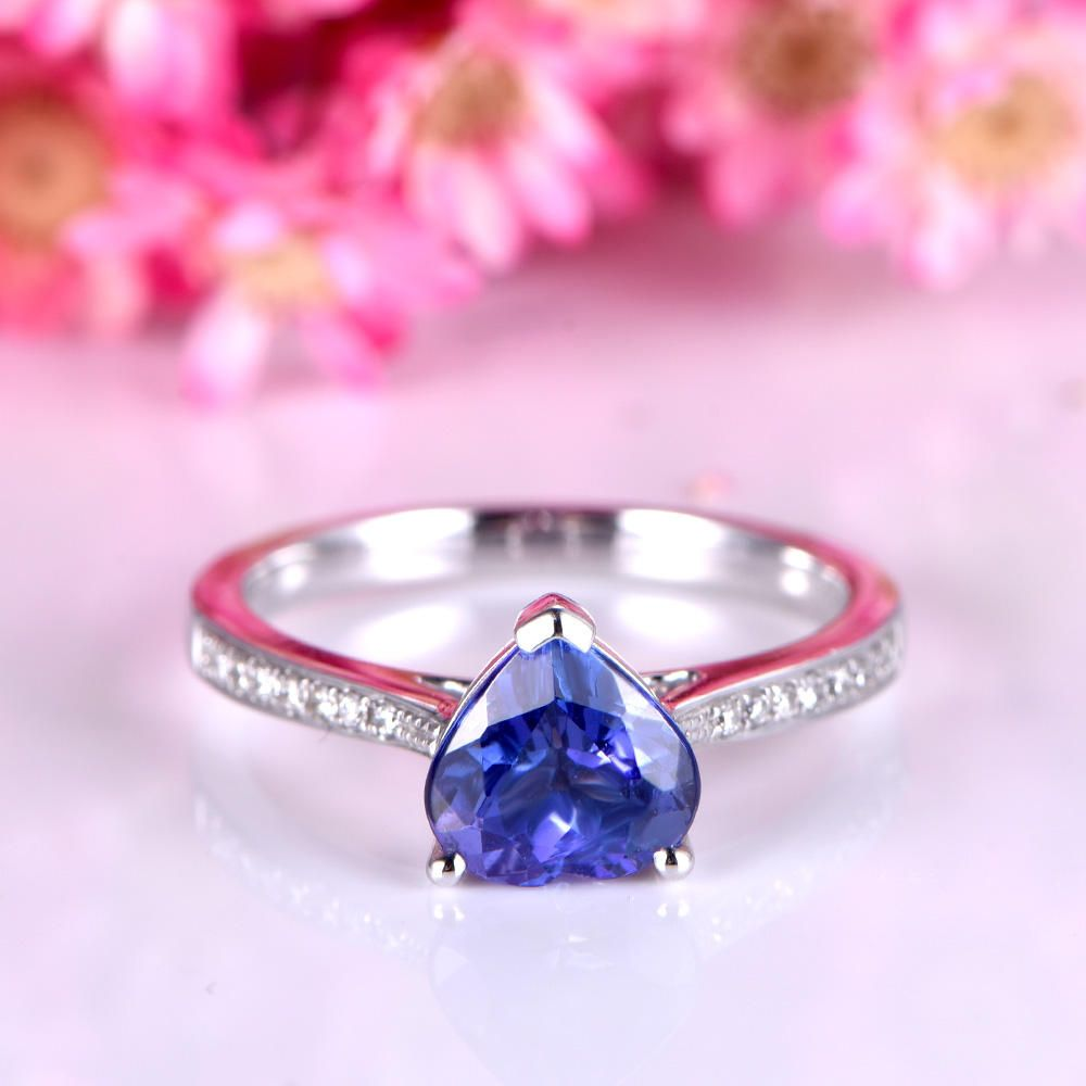 Tanzanite engagement ring 7mm heart shape tanzanite ring solid 14k ...
