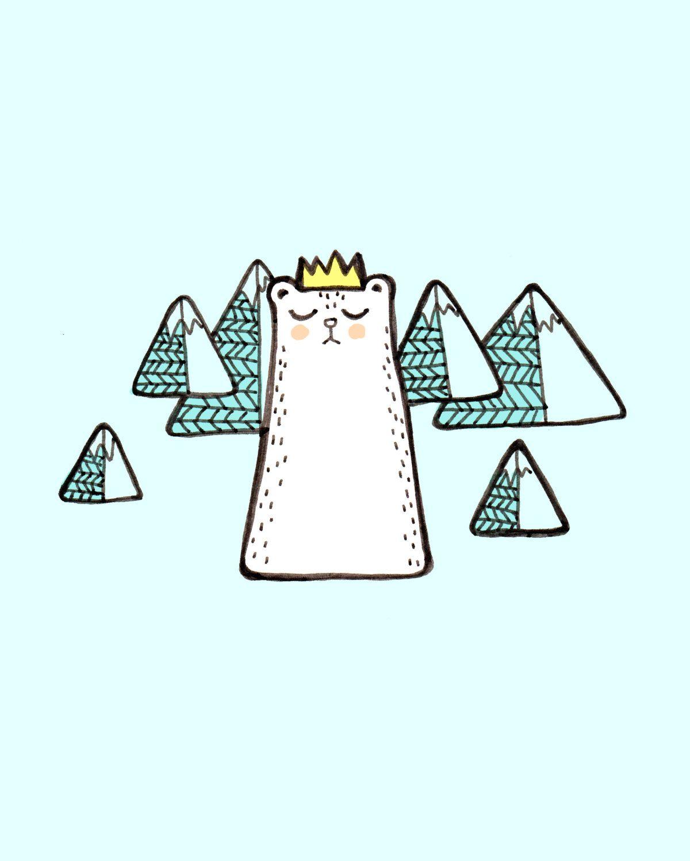Snow Leopard Print Snowy Mountain Art Winter Cat Print