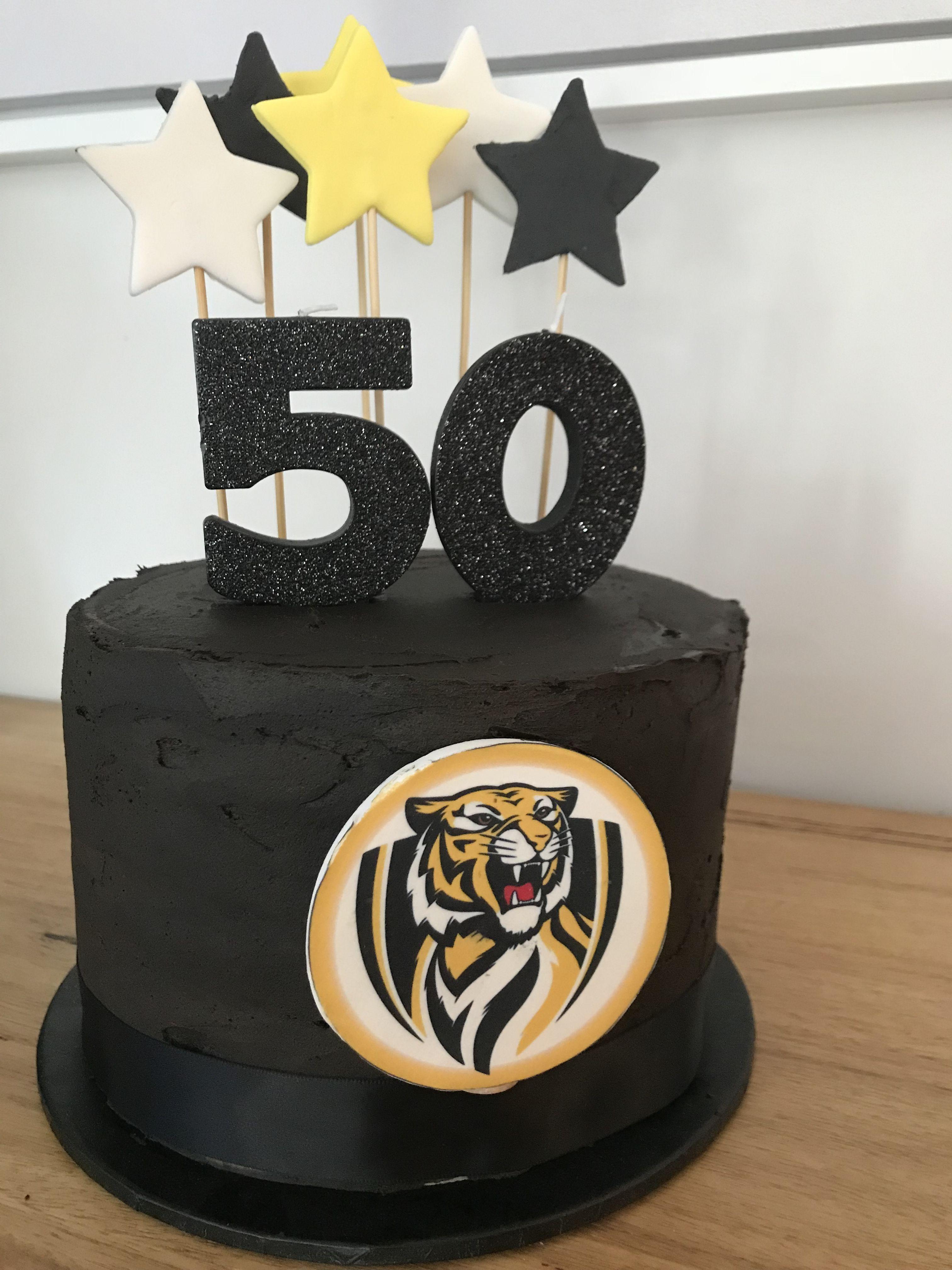 Richmond tigers AFL themed birthday cake | Tiger cake ...