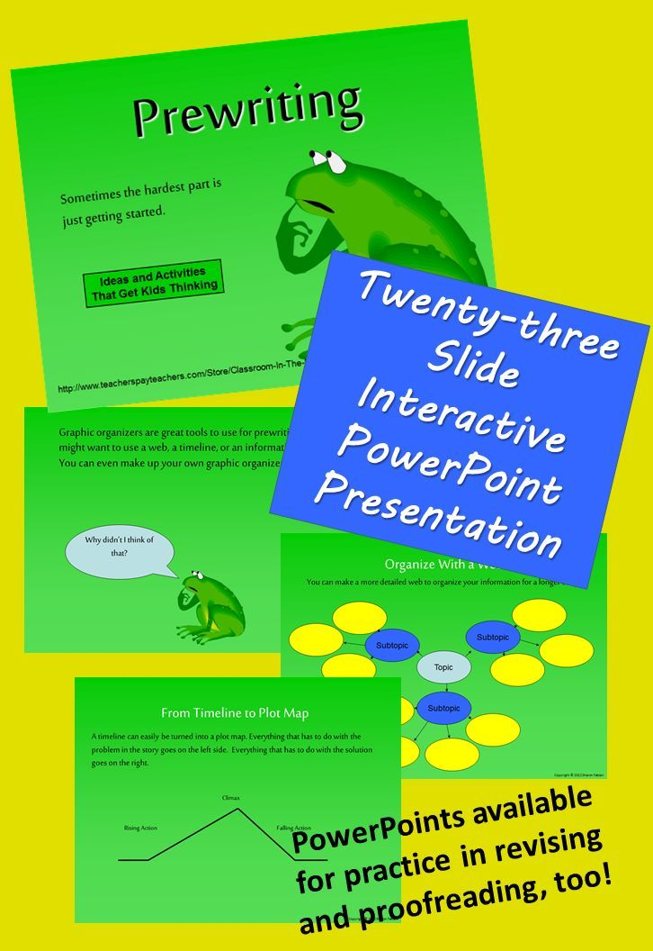 Prewriting, a twenty-three slide PowerPoint presentation, encourages on