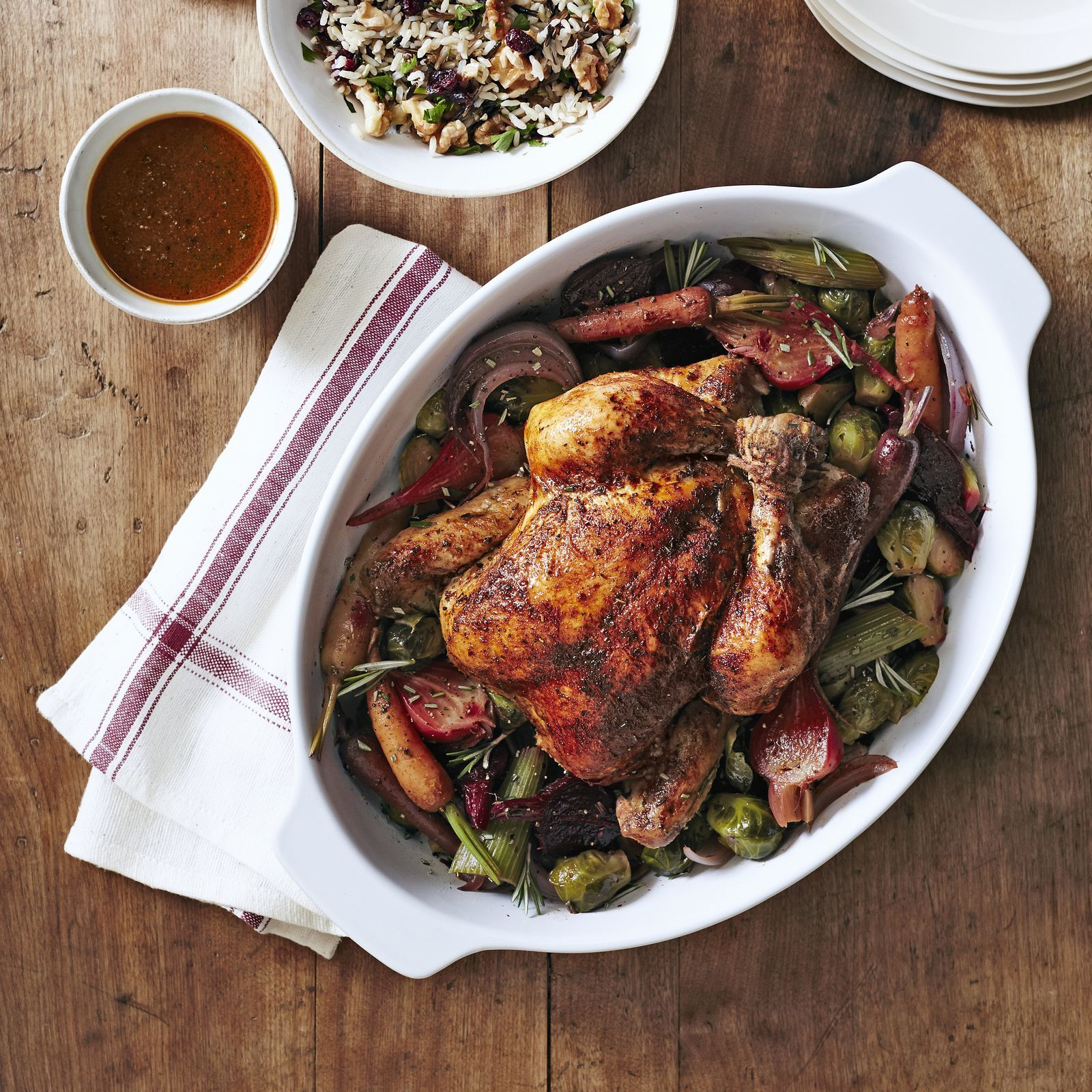 Herbed Chicken with Beets and Brussels | Rezept