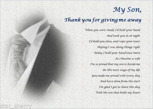 SON Thank You For GIVING ME AWAY Personalised Poem SearchWedding PoemsWedding