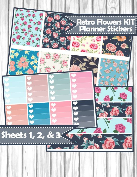 Retro flowers KIT Planner Stickers for Erin Condren, Happy Planner, Filofax, kikki.K, etc.