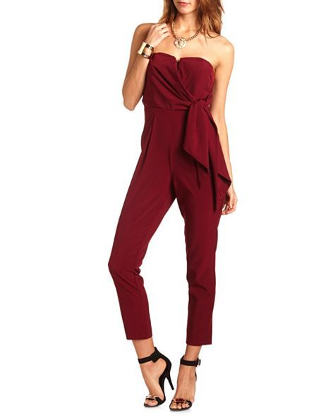 392828b80379 Side Bow Woven Tube Jumpsuit  Charlotte Russe