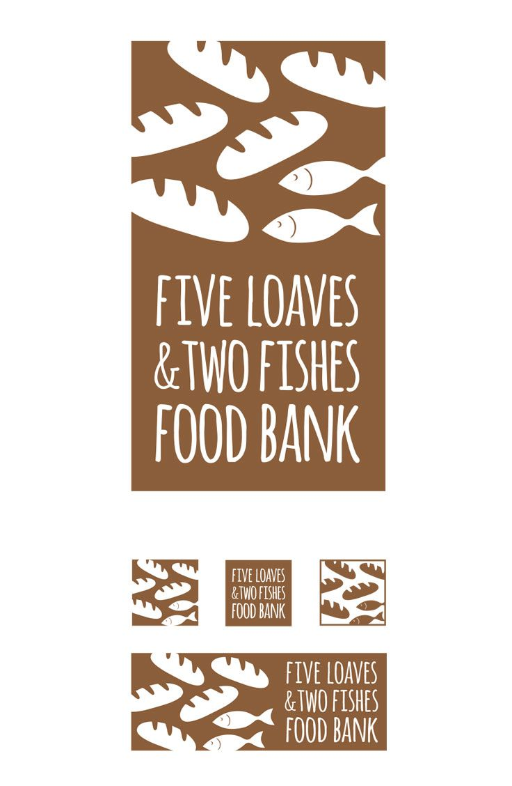 Five loaves and two fishes food bank logo design by for Loaves and fishes food pantry