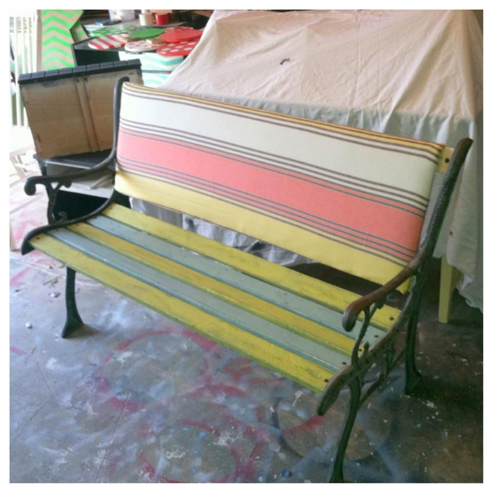 Refurbished Park Bench For Indoor Use With Fabric Back Cushion