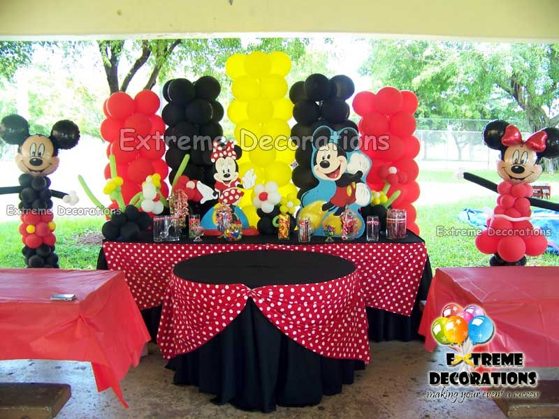 Mickey Mouse Centerpieces Candy Candy Station Over Cake Sweets Table With Mickey Minnie Theme Globos Decoracion Mickey Mickey Y Minnie