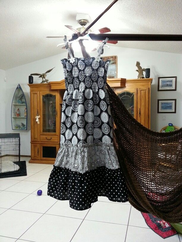 Black and white cotton smocked dress for back to school.
