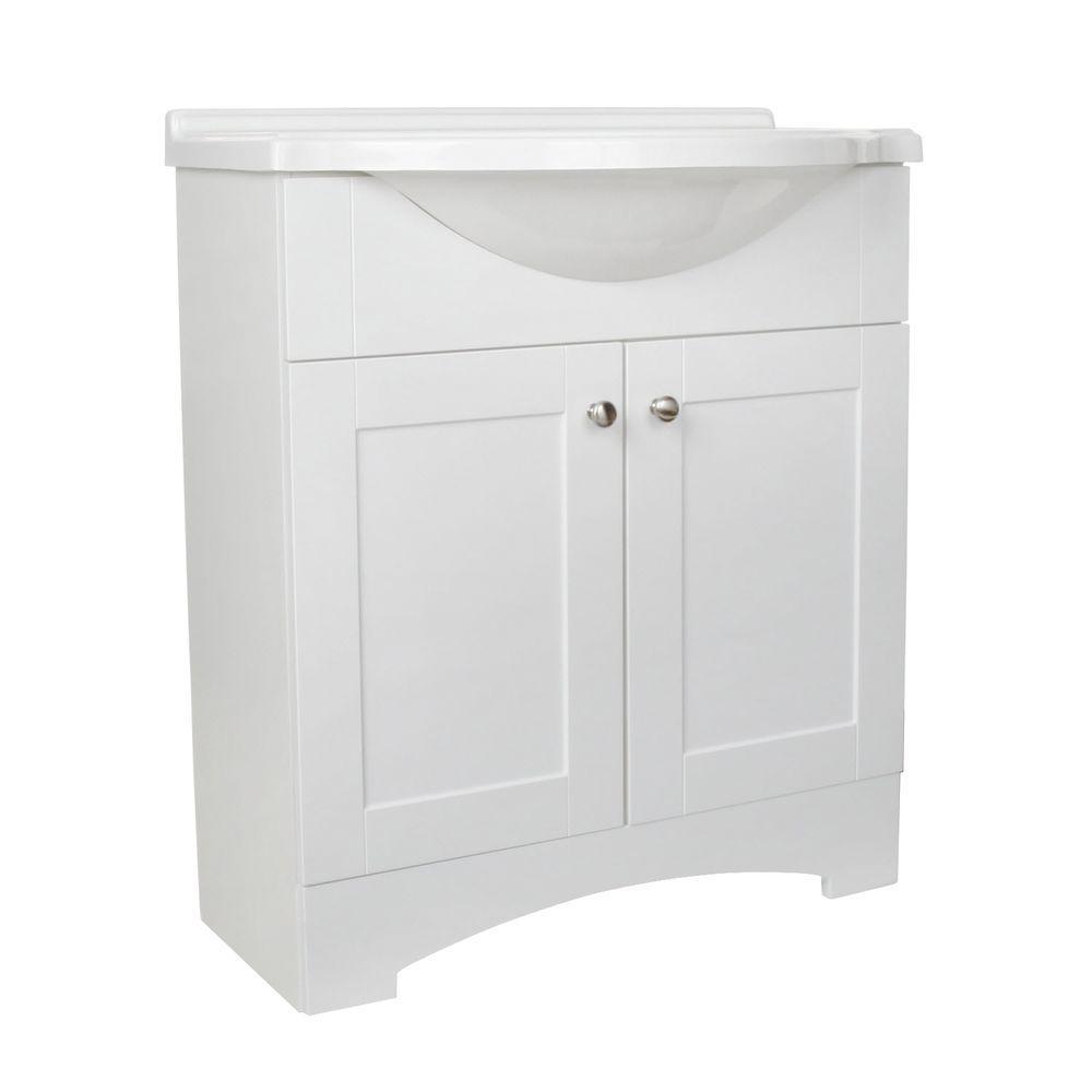 Glacier Bay Del Mar 30 Inw X 19 Ind Bath Vanity In White With Alluring 30 Bathroom Vanity With Top Design Decoration