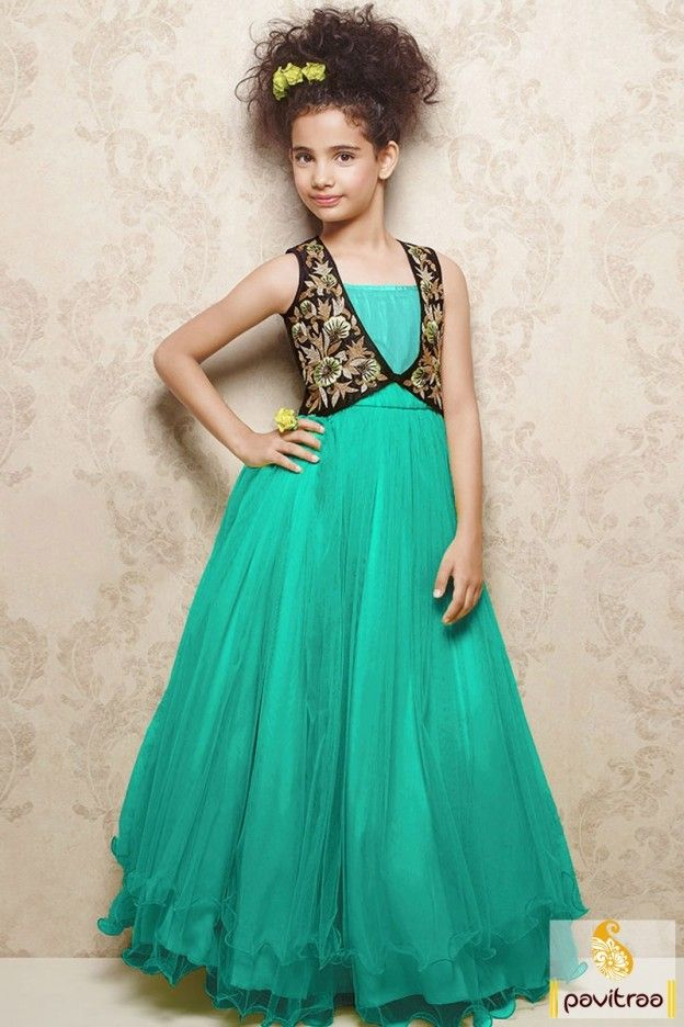 86fcf89bc0fd New fashion stylish  turquoise color net party wear gown for kids girls  collection online shopping