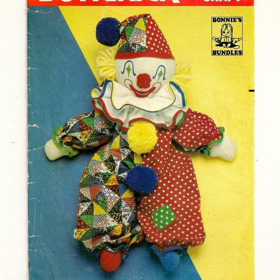 Toy clothes pattern Bobbo the Clown white-faced clown Toy Knitting Pattern