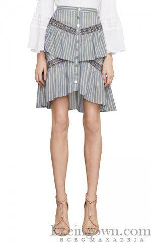 8784163631 BCBGMAXAZRIA Tiered Ruffle Stripe Skirt