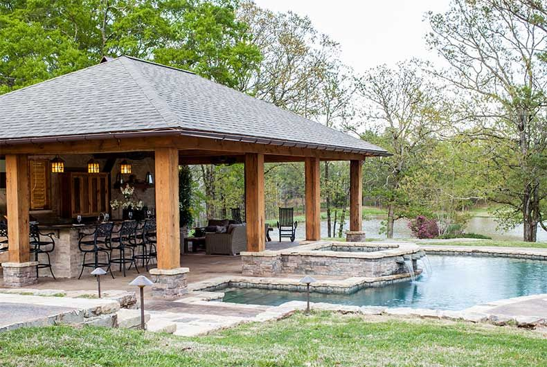 Outdoor pool and fireplace designs swimming pools for Pool design jackson ms