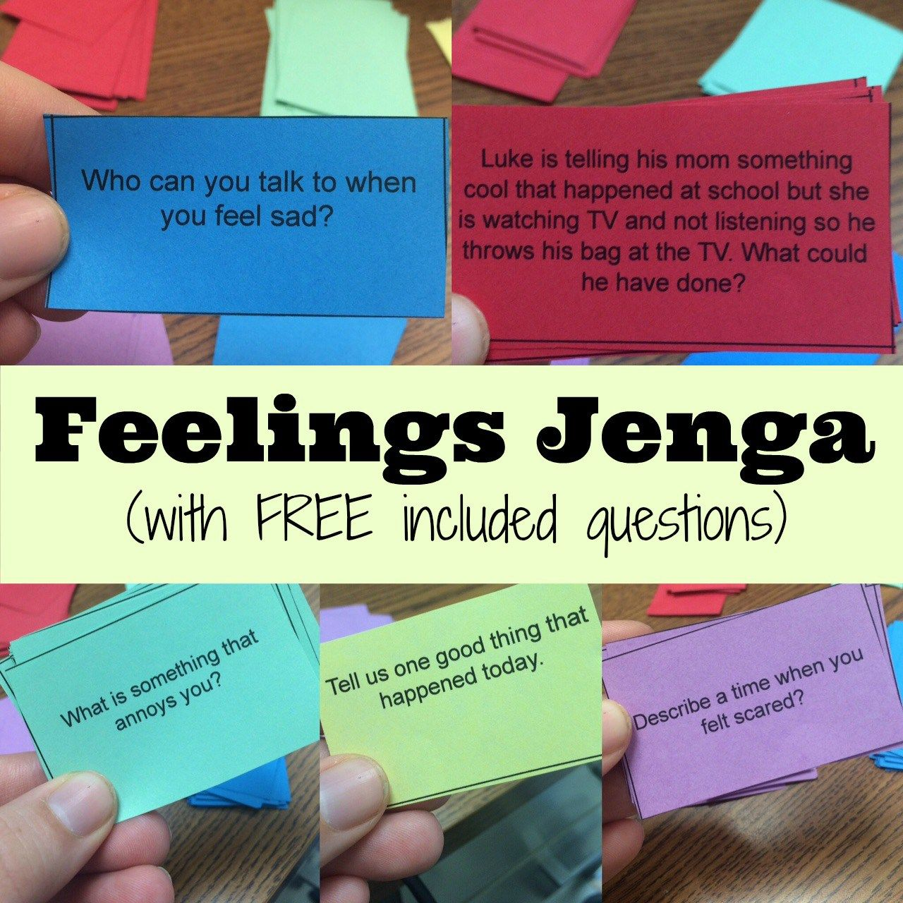 Feelings Jenga Helping Express Emotions