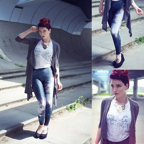 Black Milk Clothing Galaxy Black Leggings, Monki Top, H&M Wedges, H&M Cardigan