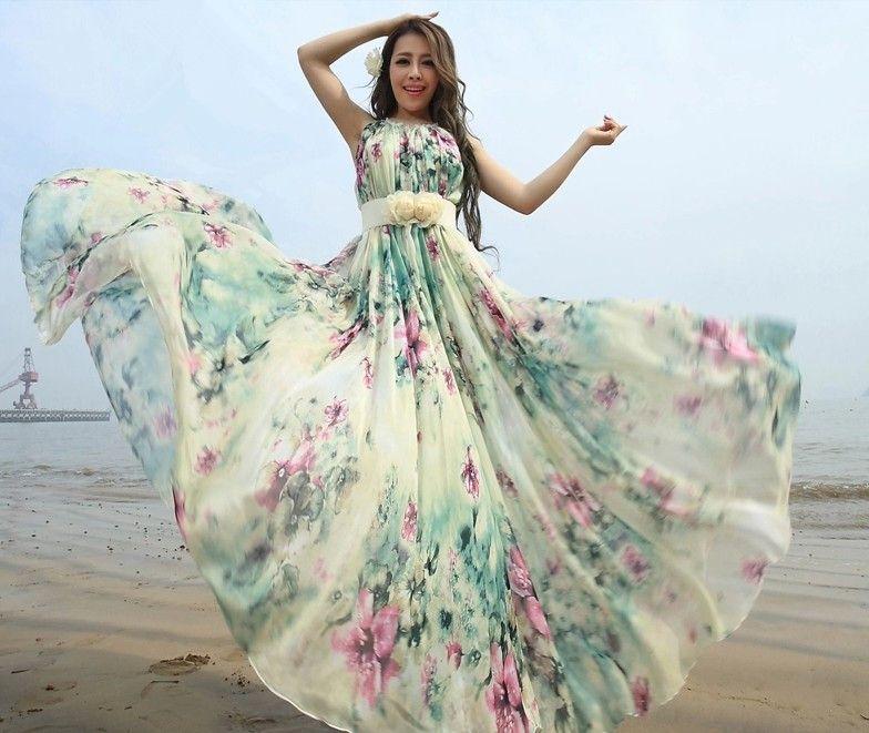 summer chiffon boho beach maxi dress with removable flower sash on