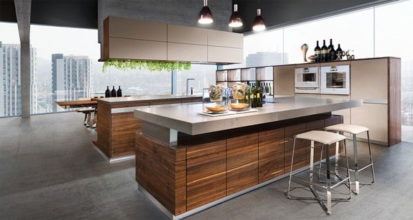 K7 wood kitchen ideas modern for open living areas Modern green kitchen ideas