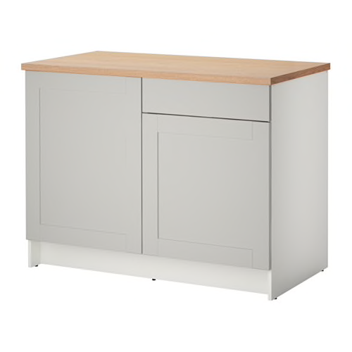 Best Knoxhult Base Cabinet With Doors And Drawer Grey 120 Cm 640 x 480