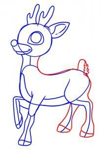 How To Draw Rudolph The Red Nosed Reindeer Step By Step Christmas