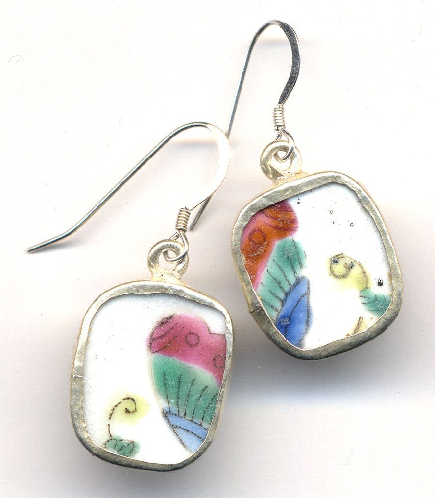Antique Porcelain Sterling Silver Earrings with Butterfly Motif ...