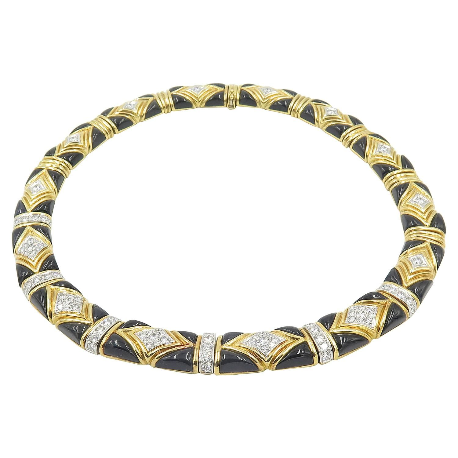 Van cleef u arpels onyx diamond gold choker necklace van cleef
