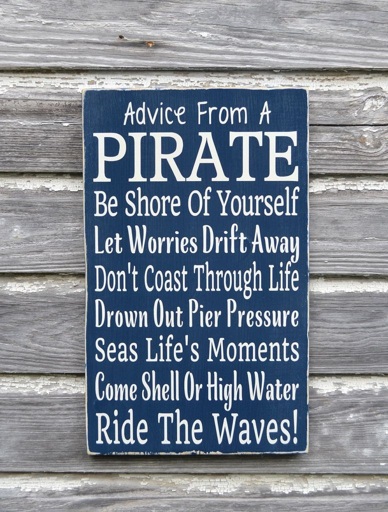 Pirate bathroom decor for kids - Nautical Nursery Decor Advice From A Pirate Beach Sign Kids Pirate Themed Room Decor Children S Wall Art
