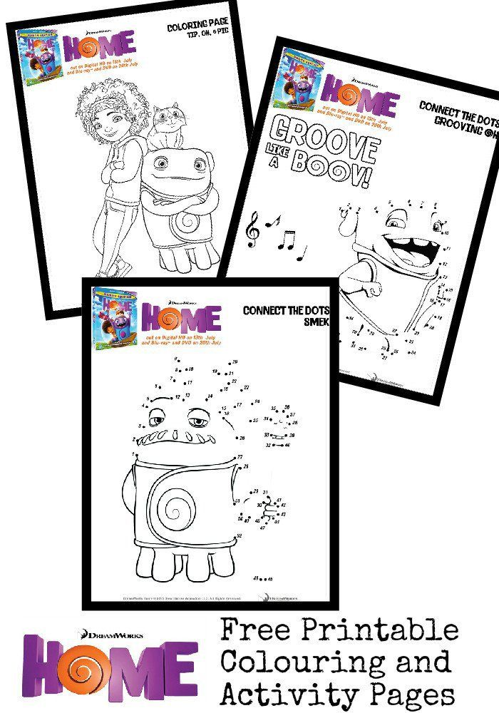 Free Printable Colouring Pages And Activity Sheets For Home The Movie Featuring Oh Tip