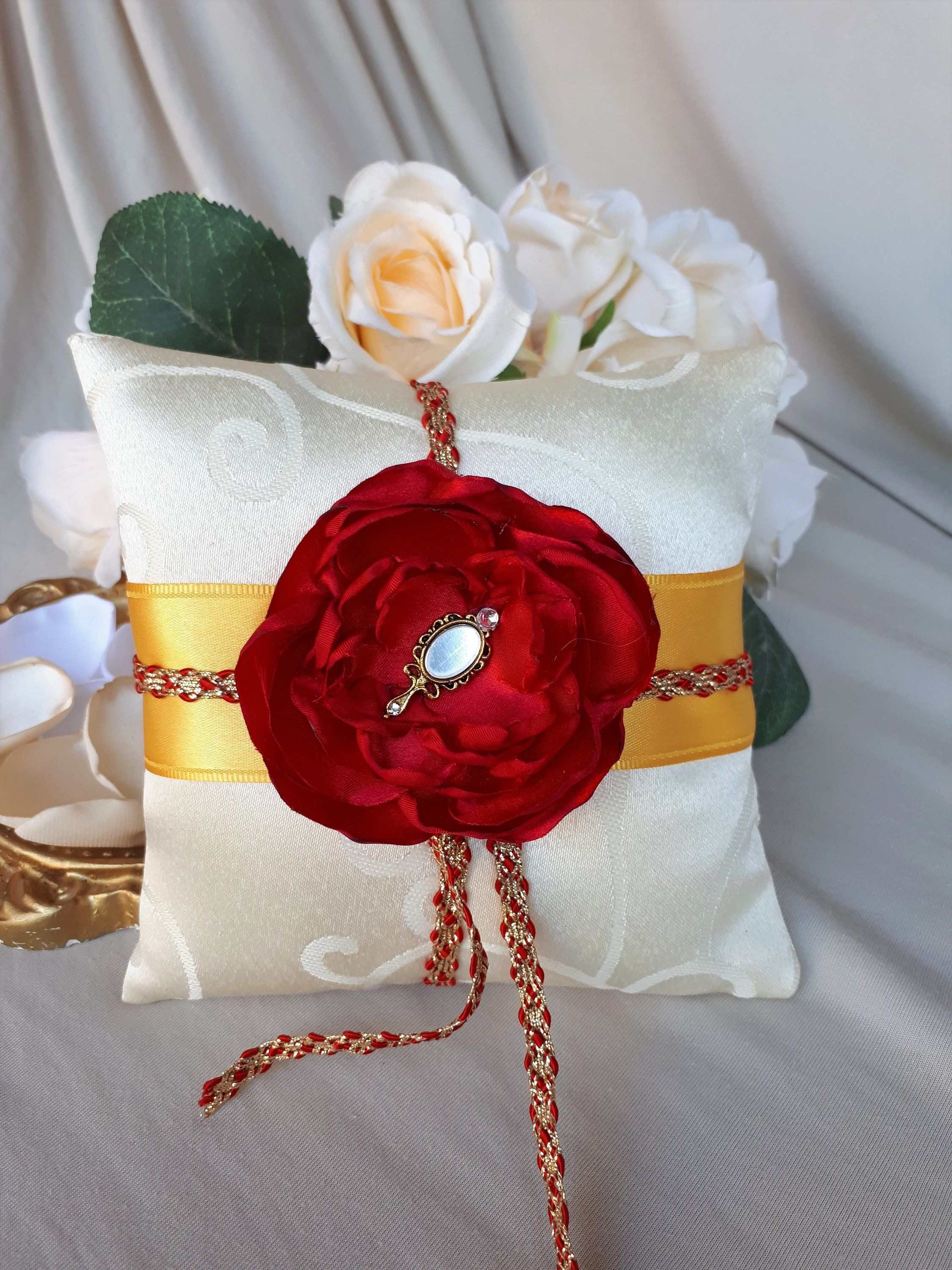 NEW Beauty And The Beast Wedding Ring Pillow Ring Bearer