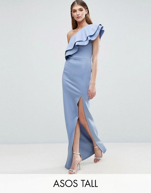 TALL Double Ruffle One Shoulder Maxi Dress | Fashion online, Gowns ...