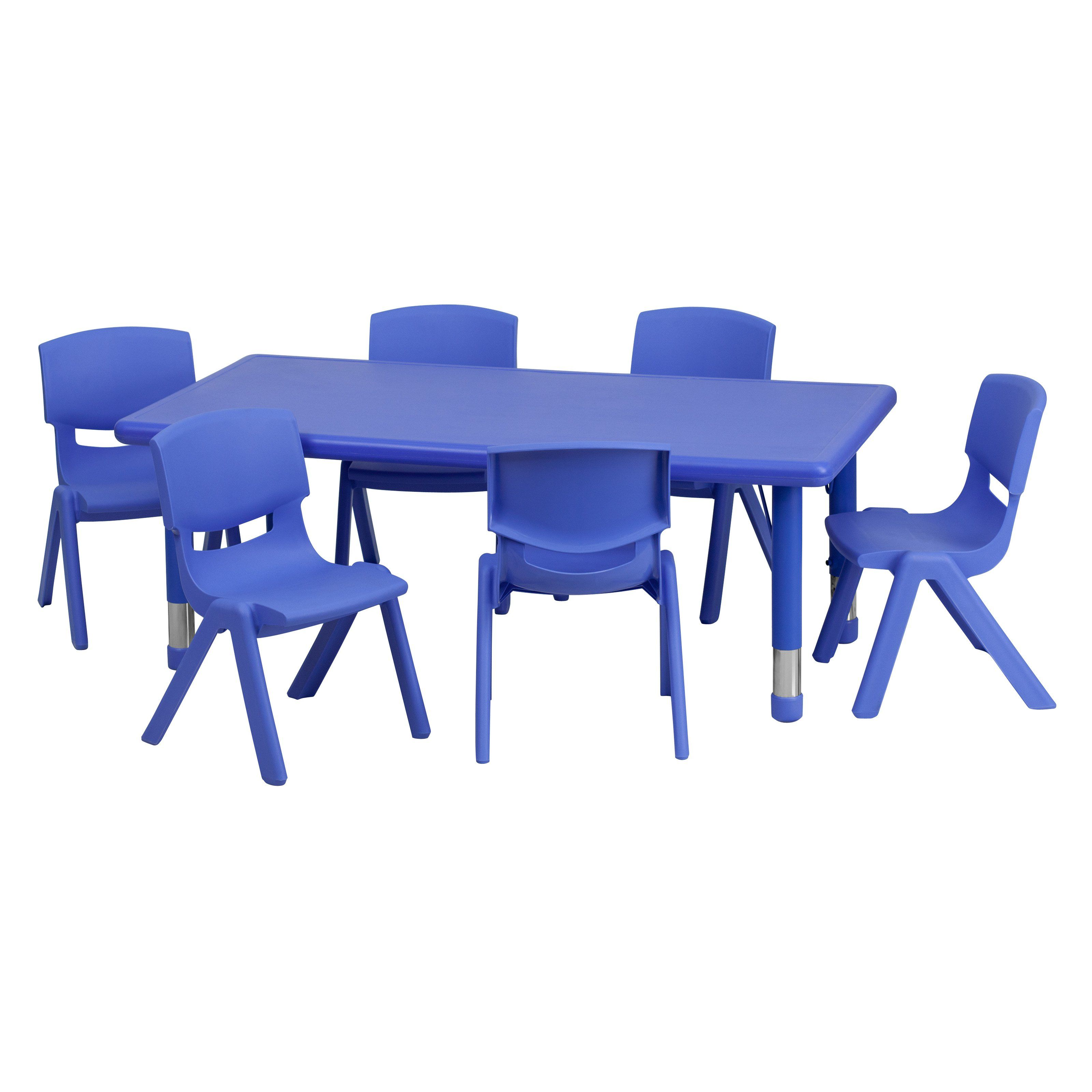 Flash Furniture 24w X 48l In Adjule Plastic Activity Table With 6 Chairs Yu Ycx 0013 2 Rect Tbl Blue E Gg