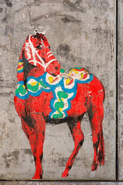 Street Art Dala Horse by Kalexanderson, via Flickr -------------- Damn this gives me so many ideas for a tattoo!