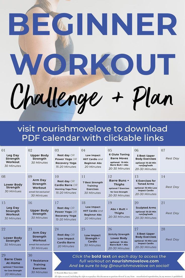 Fitness Challenge: 30-Day Beginner Workout Plan | Nourish Move Love