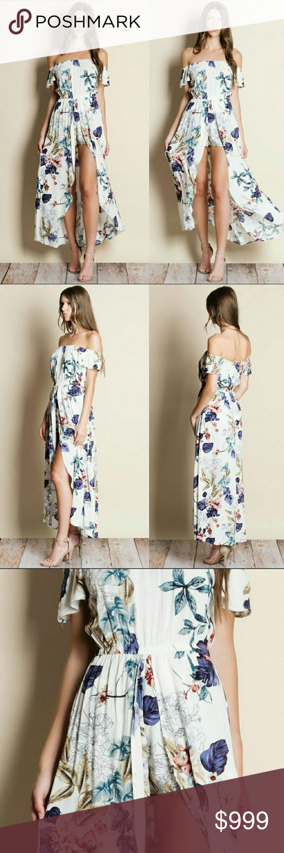 Floral print off shoulder maxi romper flower print off shoulder maxi