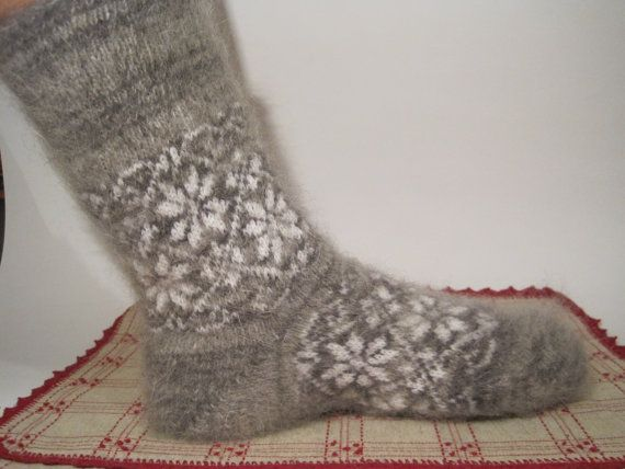 Men/Women wool socks EU-41-42-43- 44 US- 9-10 Knit and felt socks of natural Angora wool and goat fuzz Scandinavian Comfortable Soft socks