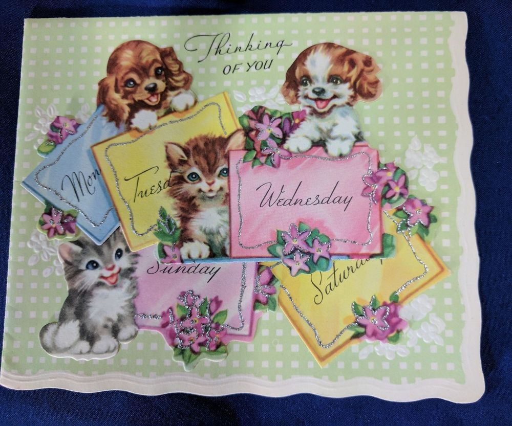 Vintage Puppy Dogs And Kittens Thinking Of You Greeting Card Ebay