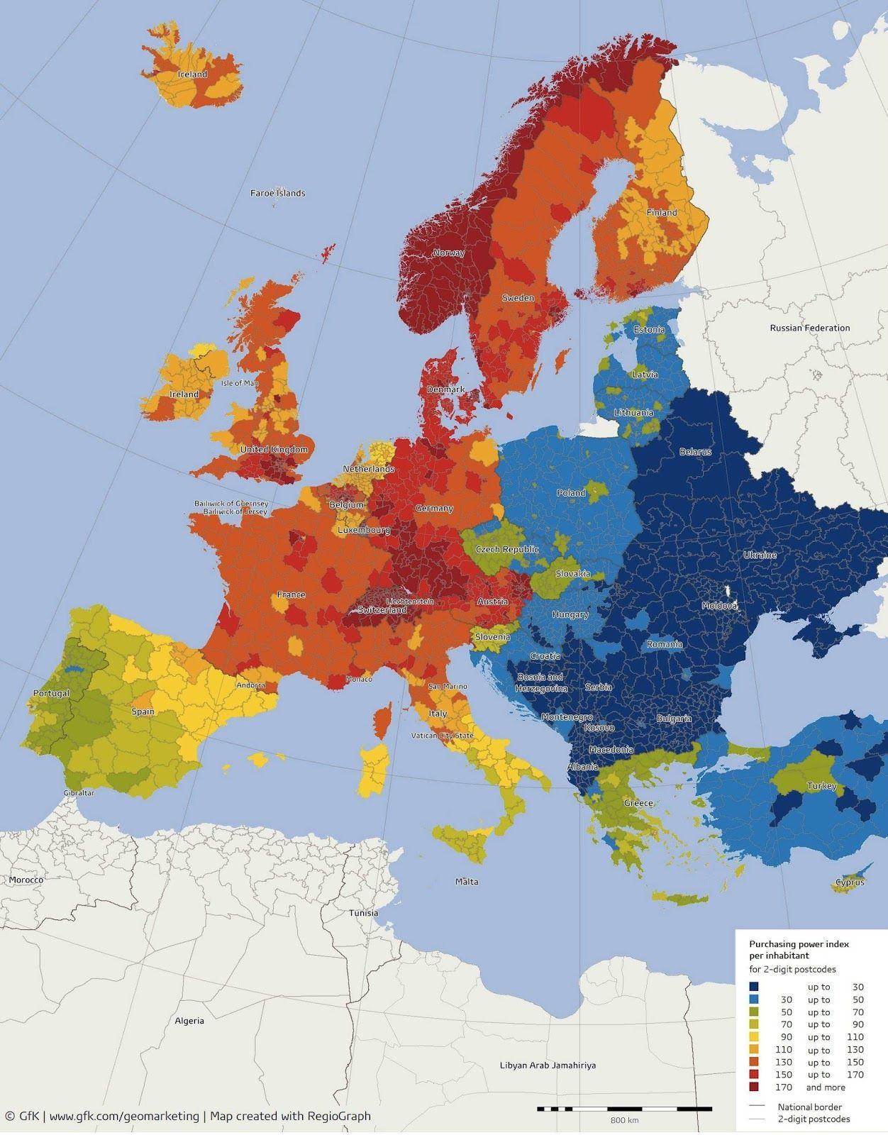 Gli Arcani Supremi (Vox clamantis in deserto - Gothian): Mappa del reddito pro capite nelle regioni europee...