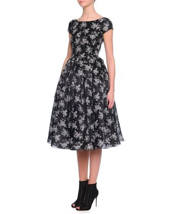Cap-Sleeve+Mini+Floral-Print+Dress+by+Dolce+&+Gabbana+at+Neiman+Marcus.