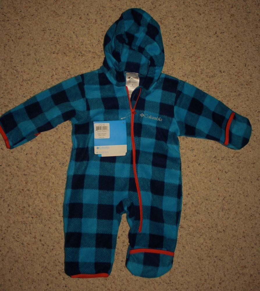 30f0971da NWT COLUMBIA Bunting Infant Boy 6M Snowtop II Fleece Blue Plaid ...