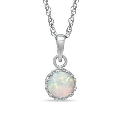Zales Oval Lab-Created Opal Crown Pendant in Sterling Silver ZV5UvEDd